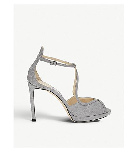 JIMMY CHOO Fawne 100 glitter leather heeled sandals (Silver