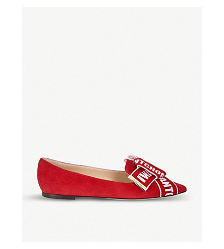 JIMMY CHOO Gleam suede pointed-toe flats (Red/rosewater