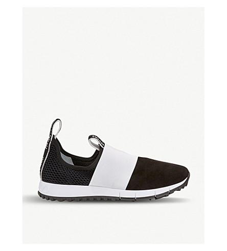 JIMMY CHOO 奥克兰绒面革和网运动鞋 (黑/粉笔