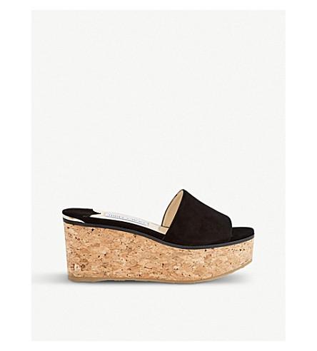 Free Shipping Amazon Pictures JIMMY CHOO Deedee 80 suede wedge sandals Black nDv5YEHb
