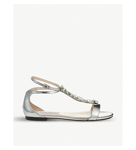 JIMMY CHOO Averie embellished metallic-leather sandals (Silver/silver