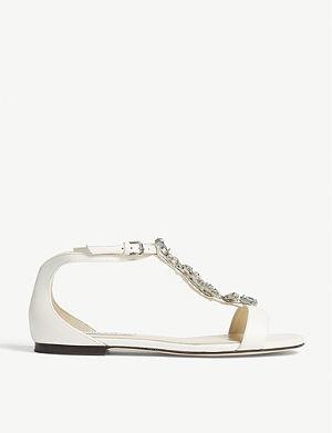 ff2592b66f8 JIMMY CHOO - Nickel flat mirror leather sandals