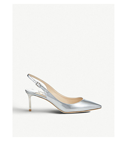 JIMMY CHOO 艾琳 60 金属皮革 slingback 高跟鞋 (银