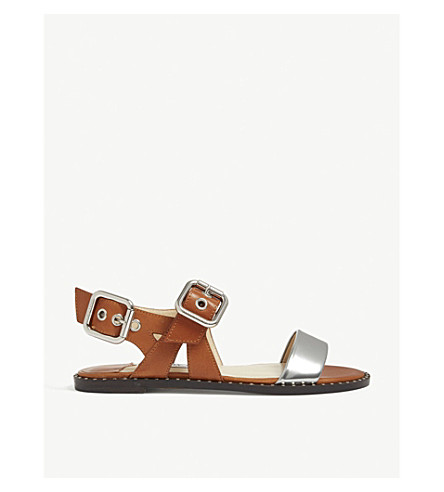 JIMMY CHOO Astrid metallic and leather sandals (Tan/silver
