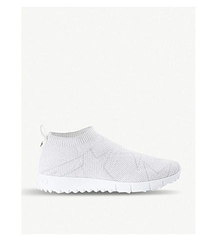 JIMMY CHOO Norway knitted textile trainers (White/white