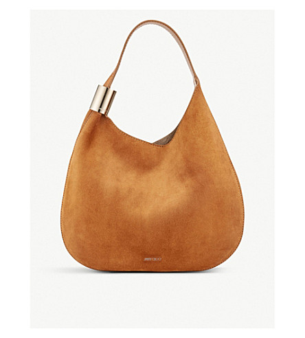 JIMMY CHOO Stevie suede hobo bag (Nutmeg