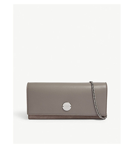 JIMMY CHOO Fie leather and suede clutch