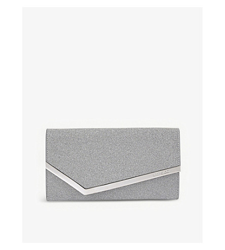 JIMMY CHOO Emmie glittered leather mini clutch (Silver