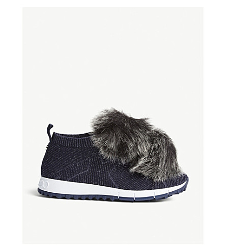 JIMMY CHOO Norway faux-fur and knitted trainers (Navy/navy