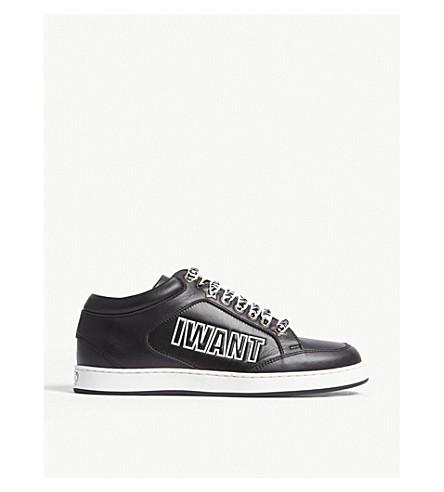 JIMMY CHOO 迈阿密口号皮革运动鞋 (黑/白