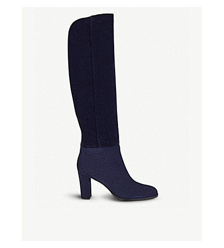 JIMMY CHOO Madalie 80 suede knee high boots (Navy
