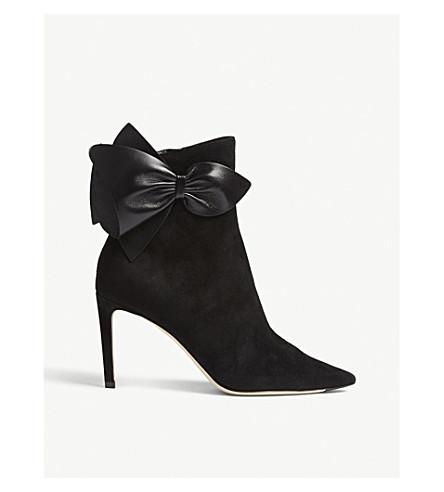 JIMMY CHOO Kassidy 85 绒面革和踝靴 (黑色/黑色