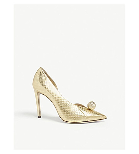JIMMY CHOO Sadira 100 elaphe snakeskin heeled pumps (Gold/gold