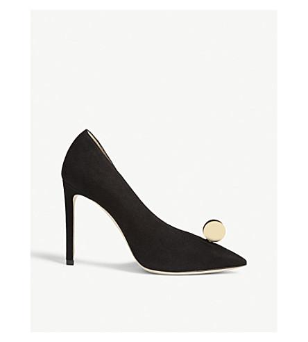 JIMMY CHOO Sadira 100 绒面革和高跟鞋 (黑色/金色/白色