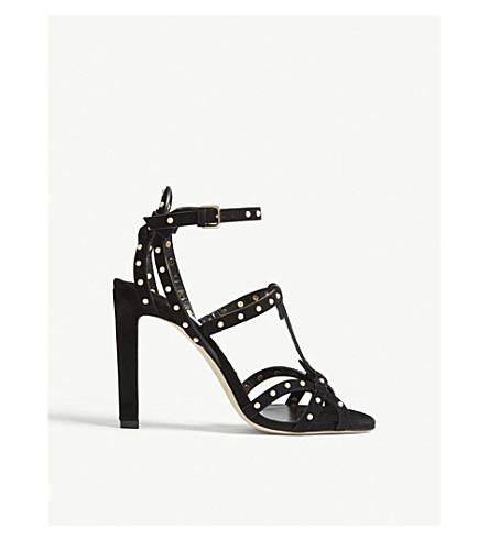 leather CHOO Black heeled JIMMY Beverly CHOO sandals JIMMY white 100 wqXpnRx