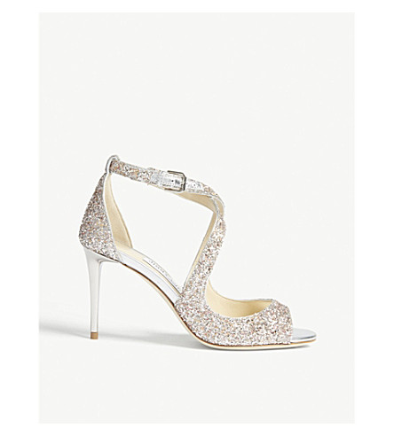 JIMMY CHOO Emily 85 glitter heeled sandals (Viola+mix