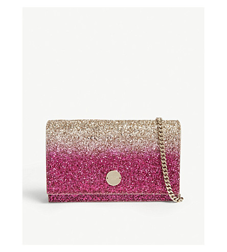 JIMMY CHOO Florence coarse glitter clutch (Gold/hot+pink