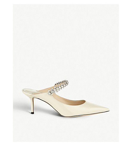 2a637870f0f ... JIMMY CHOO Bing 65 crystal-embellished patent-leather heeled mules  (Linen. PreviousNext