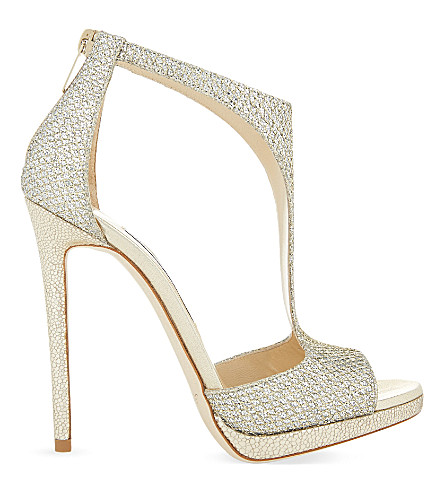 JIMMY CHOO Lana 120 glitter heeled sandals (Champagne