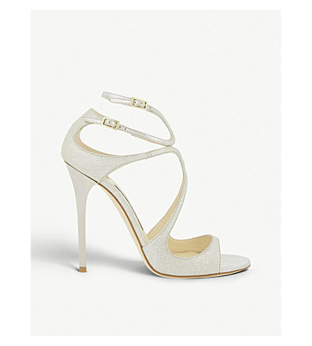 JIMMY CHOO Lance 115 glitter heeled sandals (Champagne