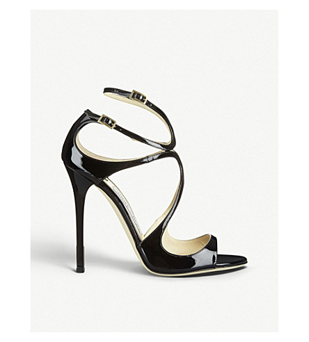 JIMMY CHOO Lance 115 patent-leather heeled sandals (Black