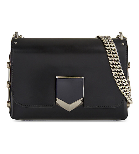 JIMMY CHOO Lockett Petite leather shoulder bag (Black/chrome