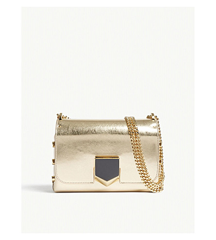 JIMMY CHOO Lockett Petite leather shoulder bag (Gold