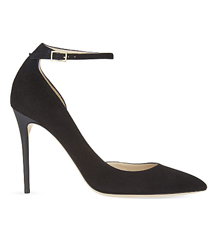 JIMMY CHOO Lucy 100 suede heeled courts (Black