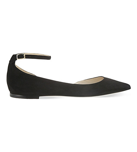 JIMMY CHOO Lucy suede pointed-toe flats (Black