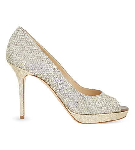 JIMMY CHOO Luna 100 glitter heeled pumps (Champagne