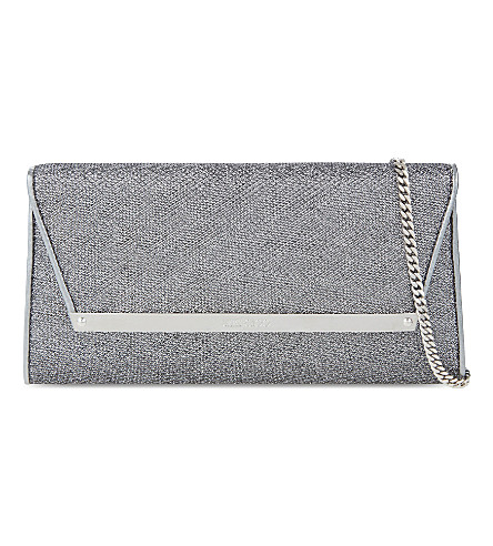 JIMMY CHOO Margot glitter clutch (Anthracite
