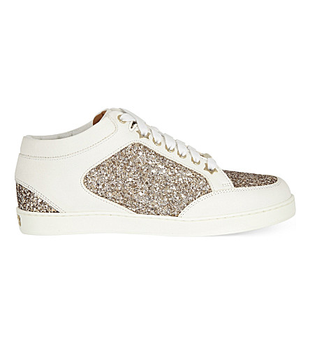 JIMMY CHOO Miami leather sneakers (Nude/white