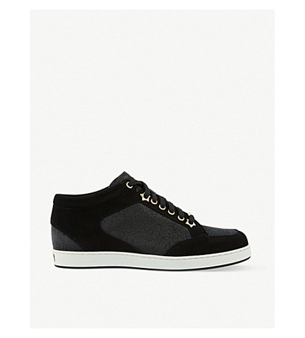 JIMMY CHOO Miami suede and fine glitter trainers (Black/black