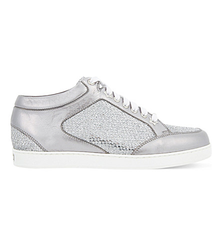 JIMMY CHOO Miami leather and fine glitter trainers (Silver