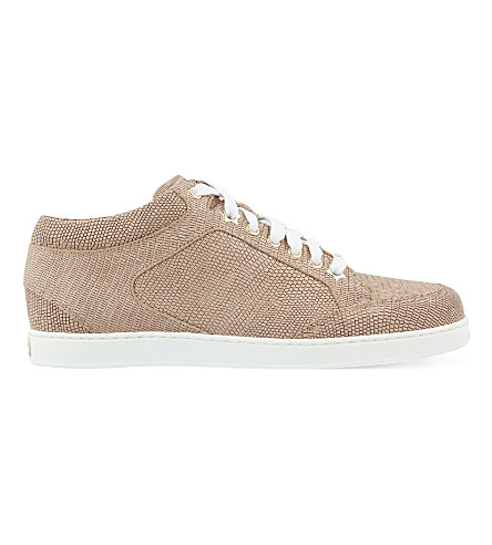 JIMMY CHOO Miami leather and fine glitter trainers