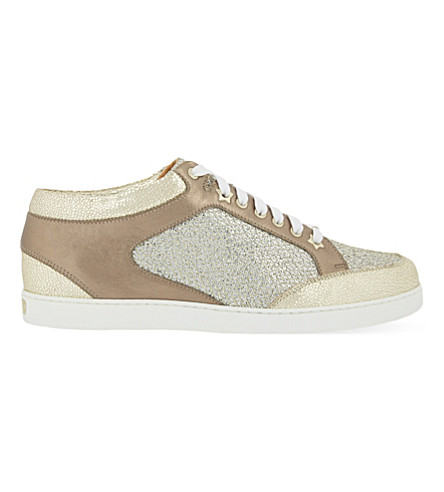JIMMY CHOO Miami leather and fine glitter trainers (Champagne