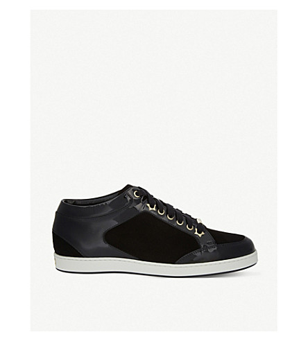 JIMMY CHOO Miami suede and patent-leather trainers (Black