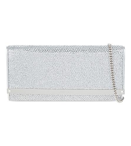 JIMMY CHOO Milla glitter clutch (Silver