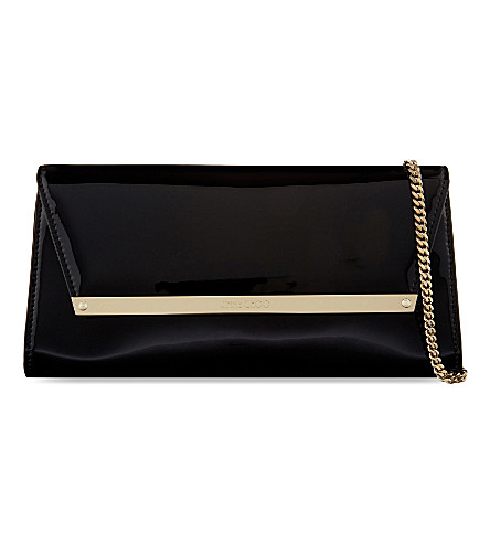 JIMMY CHOO Margot patent-leather clutch (Patent/suede+black