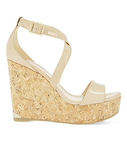 JIMMY CHOO Portia 120 patent-leather wedge sandals (Nude