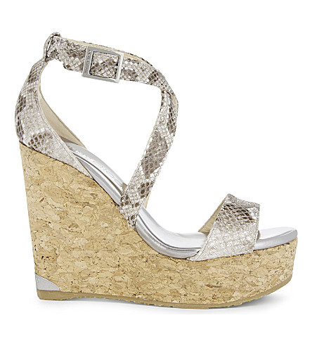 JIMMY CHOO Portia 120 leather wedge sandals