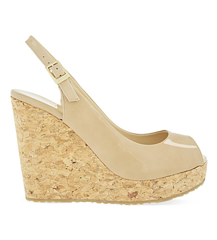 JIMMY CHOO Prova 120 patent-leather wedge sandals (Nude