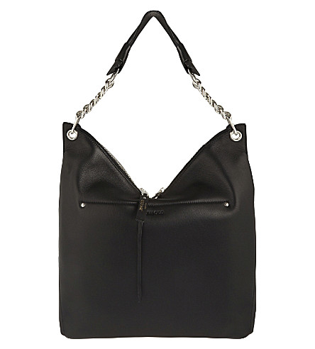 JIMMY CHOO Raven leather shoulder bag (Black