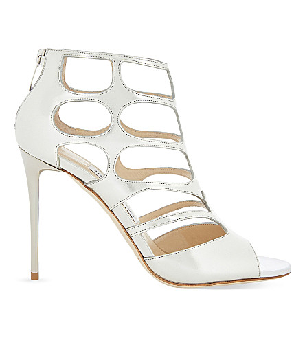 JIMMY CHOO Ren 100 leather heeled sandals (Silver