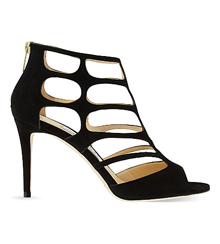 JIMMY CHOO Ren 85 suede heeled sandals (Black
