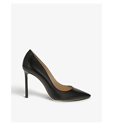 JIMMY CHOO Romy 100 leather courts (Black