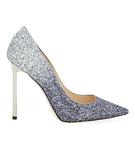 JIMMY CHOO Romy 110 coarse glitter courts (Navy/silver