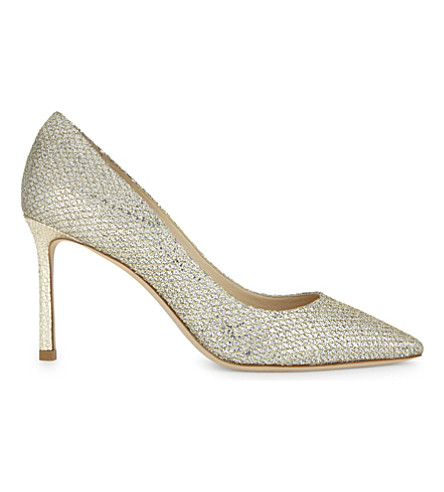 JIMMY CHOO Romy 85 metallic snakeskin-embossed glitter courts (Champagne