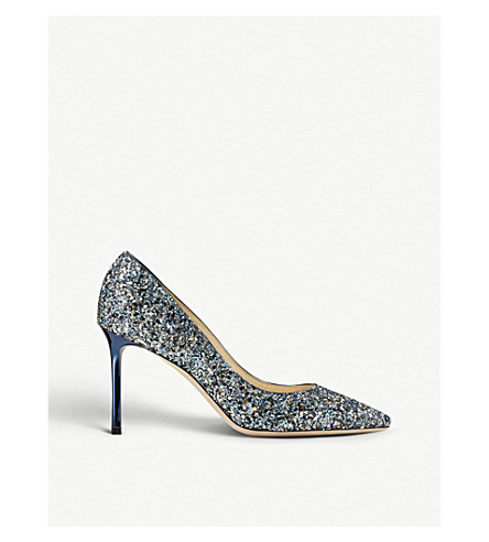 JIMMY CHOO Romy 85 coarse glitter courts (Navy/silver