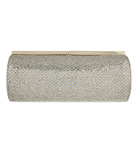 JIMMY CHOO Trinket glitter tube clutch (Champagne